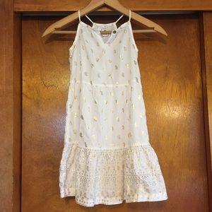 White Toddler Dress w/ Gold Paisley Print size 4t